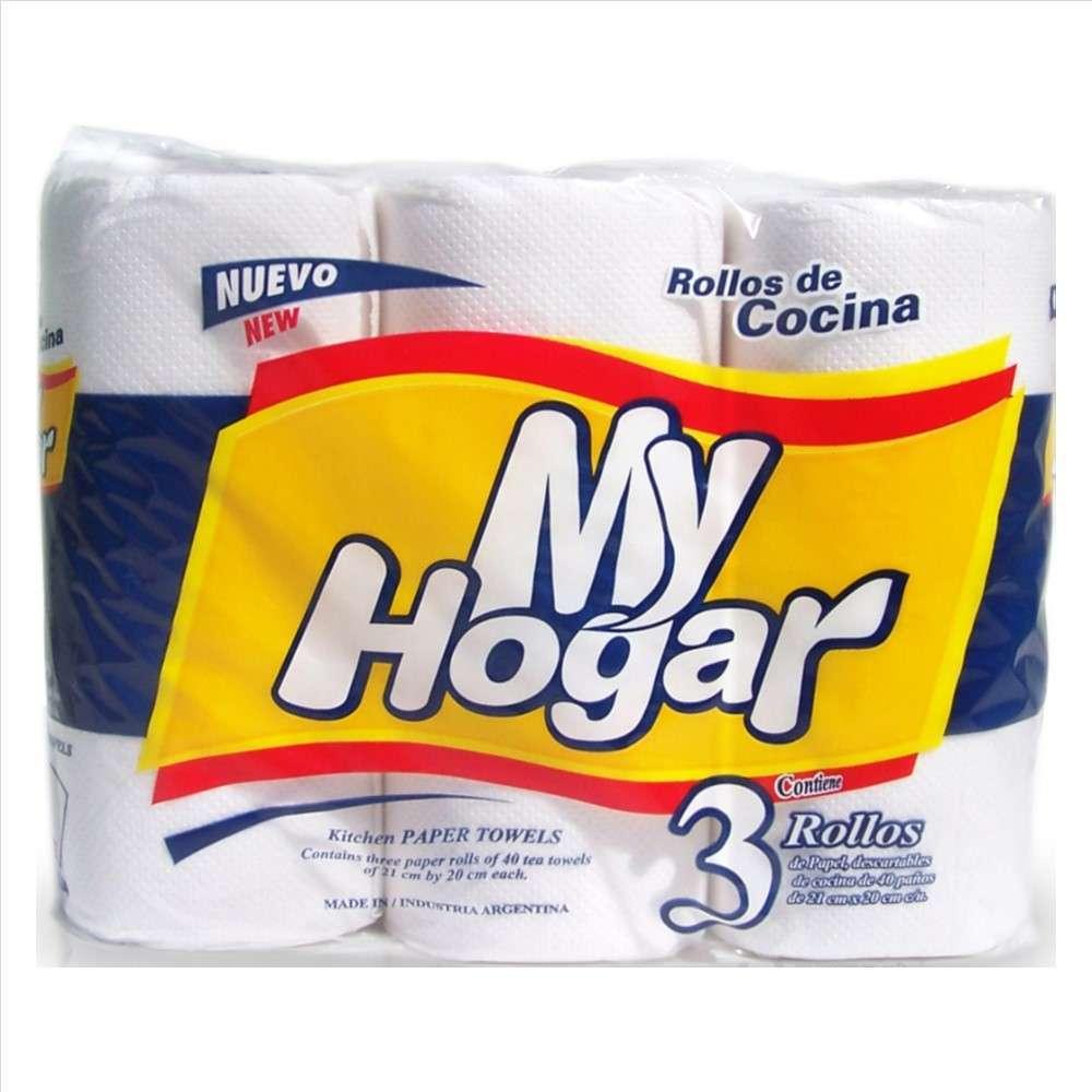Rollo de Cocina My Hogar Blanco 3Rolx40Paños