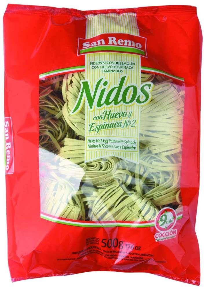 Fideos San Remo Huevo Nid.Espinaca