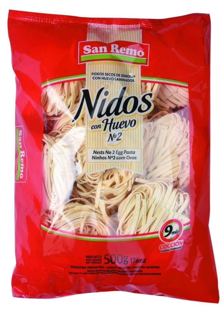 Fideos San Remo Huevo Nid.N2 500G
