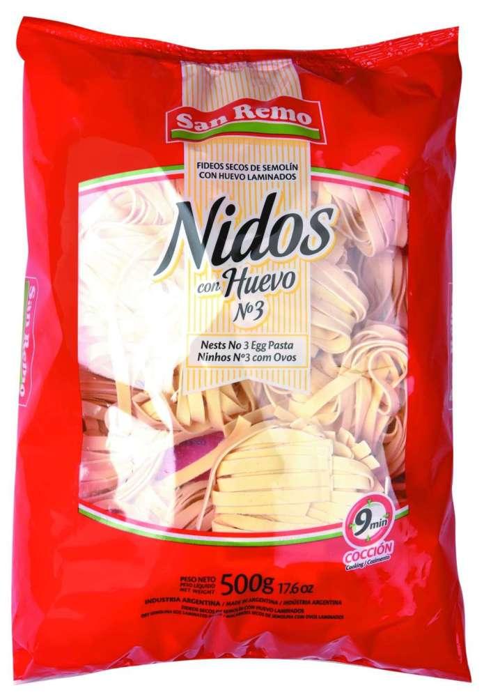 Fideos San Remo Huevo Nid.N3 500G