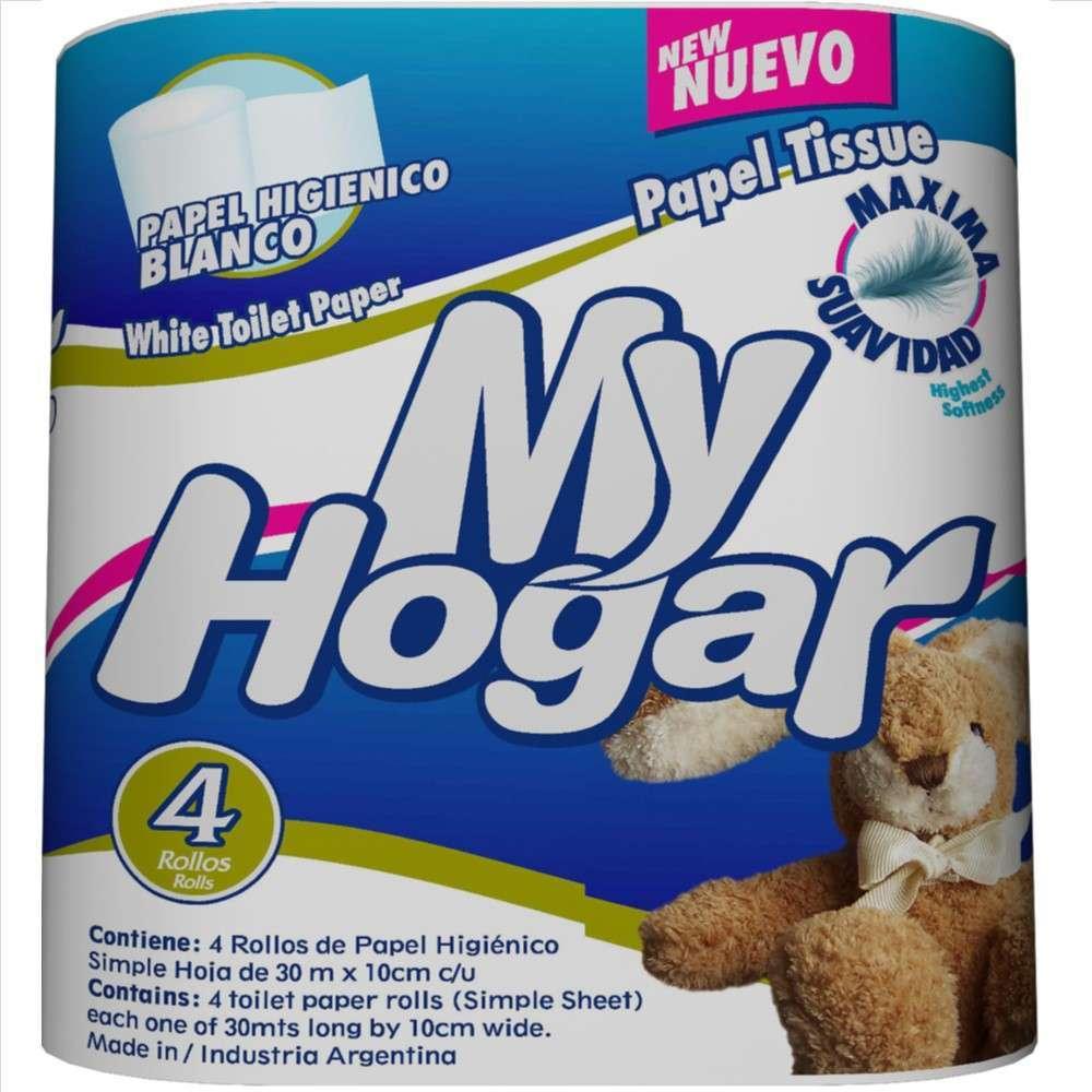 Papel Higiénico My Hogar Blanco 4Rolx30M