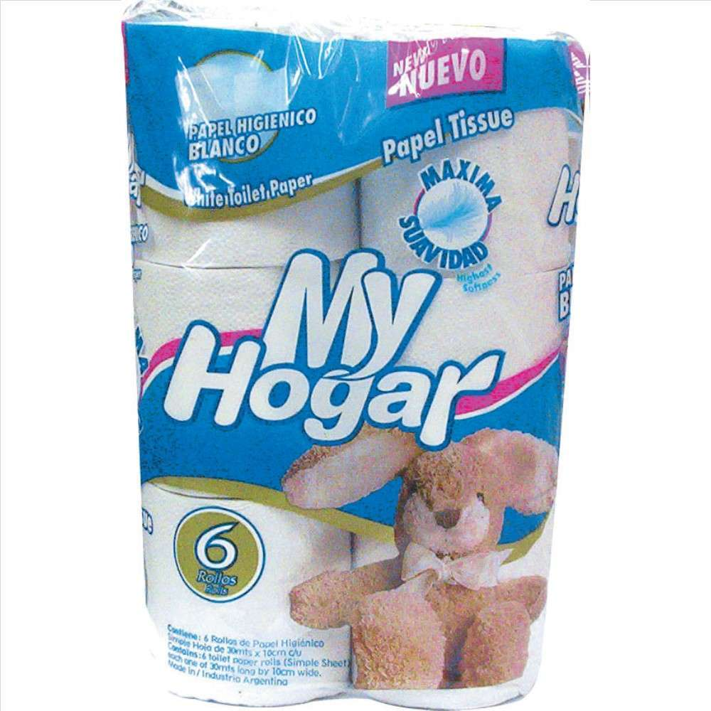 Papel Higiénico My Hogar Blanco 6Rolx30M