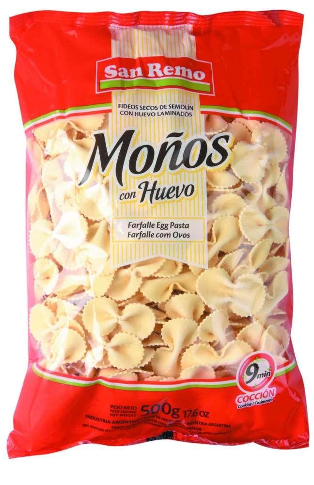 Fideos San Remo Huevo Moños 500G