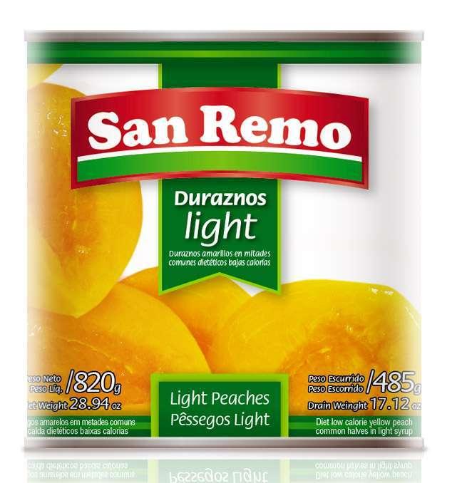 Durazno San Remo Light Mitades 820G