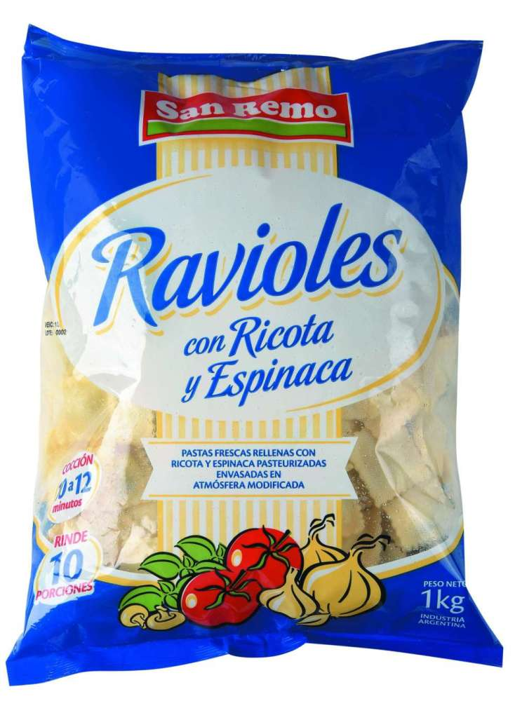 Ravioles San Remo Ricota / Espinaca 1Kg